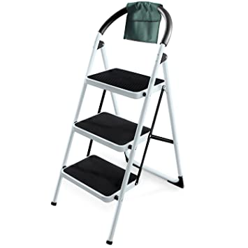 Ohuhu 3 Step Ladders Steel Frame Folding Step Stool Portable Ladder with Hand Grip  sc 1 st  Amazon.com & Ohuhu 3 Step Ladders Steel Frame Folding Step Stool Portable ... islam-shia.org
