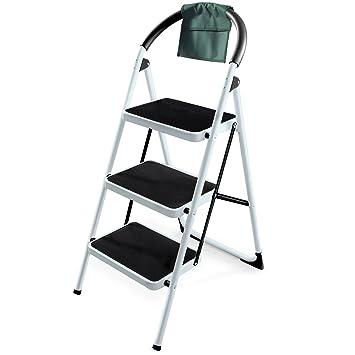Ohuhu 3 Step Ladders Steel Frame Folding Step Stool Portable Ladder with Hand Grip  sc 1 st  Amazon.com & Ohuhu 3 Step Ladders Steel Frame Folding Step Stool Portable ... islam-shia.org