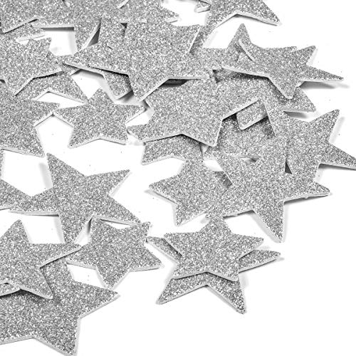 - 6 Pack Foam Star Stickers Glitter 3D Silver Letter Stickers for Kids Girls,Cute Photo Stickers Laptop Stickers Happy Planner Stickers for DIY Arts and Crafts,Daily Planner (Silver Star)