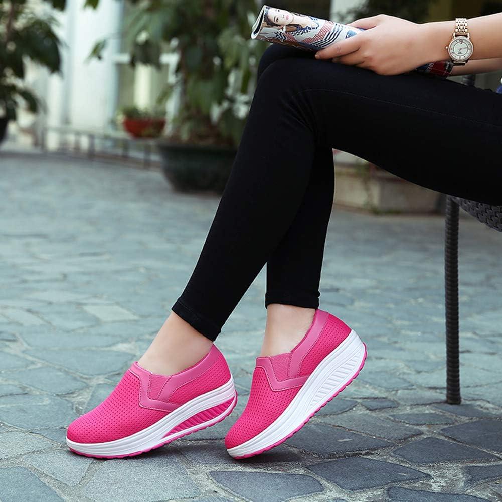Aardich Femmes Chaussures De Marche Slip on Sneakers Respirant Maille Athlétique Chaussures De Course Plateforme Wedge Chaussures De Soins Rose