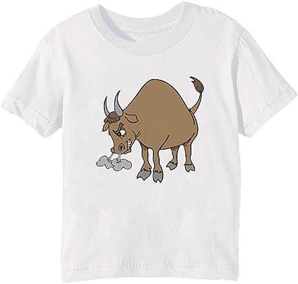Enojado Toro Niños Unisexo Niño Niña Camiseta Cuello Redondo Blanco Manga Corta Tamaño XL Kids Unisex Boys Girls T-shirt White X-Large Size XL: Amazon.es: Ropa y accesorios