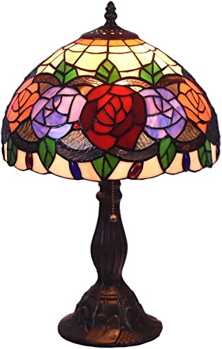 Tiffany Style Table Lamps Roses Flora Desk Light 18 Inches Tall Stained Glass 12 Inches Wide Lamp Shade Vintage Antique Accent Lamp