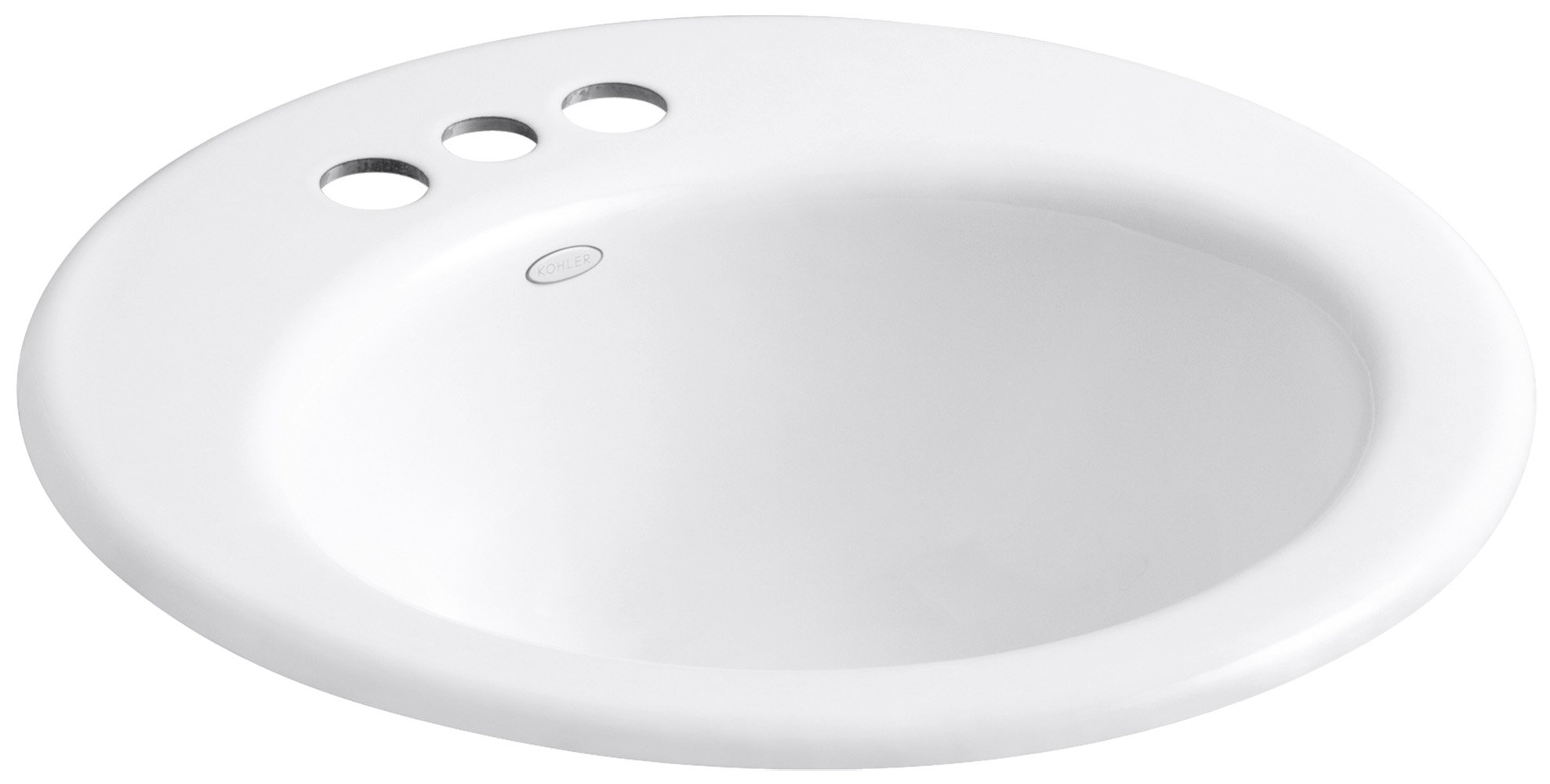 KOHLER K-2917-4-0 Radiant Self-Rimming Bathroom Sink, White