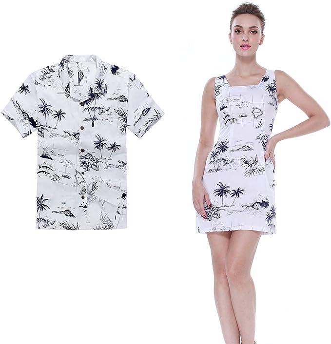 Pareja Matching Hawaiian Luau Outfit Aloha camisa y vestido de tanque en Mapa Blanco