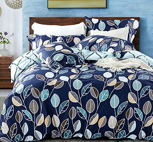 Modern Geo Leaf Print Cotton Quilt Duvet Cover Navy Light Blue Reversible Geometric Floral Leaves Outline Pattern Bedding Set Minimalist Garden Bloom Design (King) (Quilt Geometric compare prices)