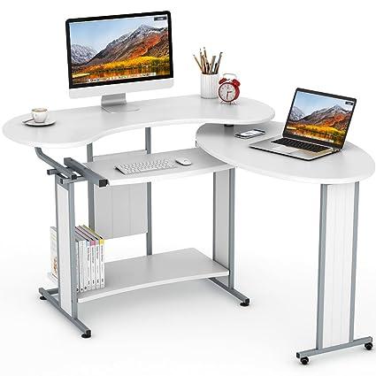 innovative design 63bea 454a1 L-Shaped Computer Desk, LITTLE TREE Rotating Corner Desk & Modern Office  Study Workstation, for Home Office or Living Room (White)