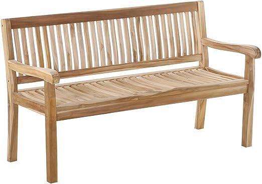 SAM® Banco de jardín Kingsbury de Madera de Teca, Anchura 150 cm, Banco de Madera con 3 plazos, Ideal para terrazas y Balcones: Amazon.es: Jardín