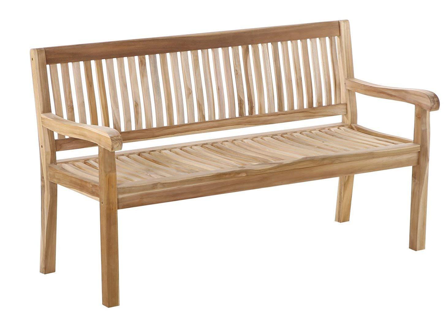 SAM® Panca da giardino Kingsbury, in legno di teak, panca da 3 posti, 150 cm, legno massello, ideale per balconi e giardini.