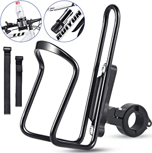 RUNACC 2 in 1 Water Bottle Holder Bike Water Bottle Cage Lightweight Aluminium Alloy Bottle Bracket for Bicycles, Motorcycles, Fishing Umbrella, Baby Carriage, 2 Pcs Bandages Included
