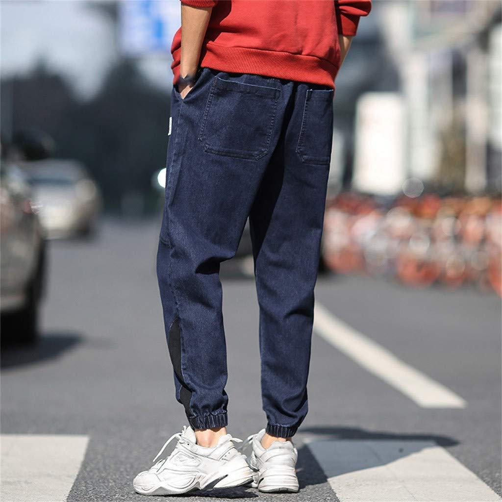 Alangbudu Mens Casual Loose Cargo Pants Casual Work Combat Trousers Jeans Denim Regular Taper Fit