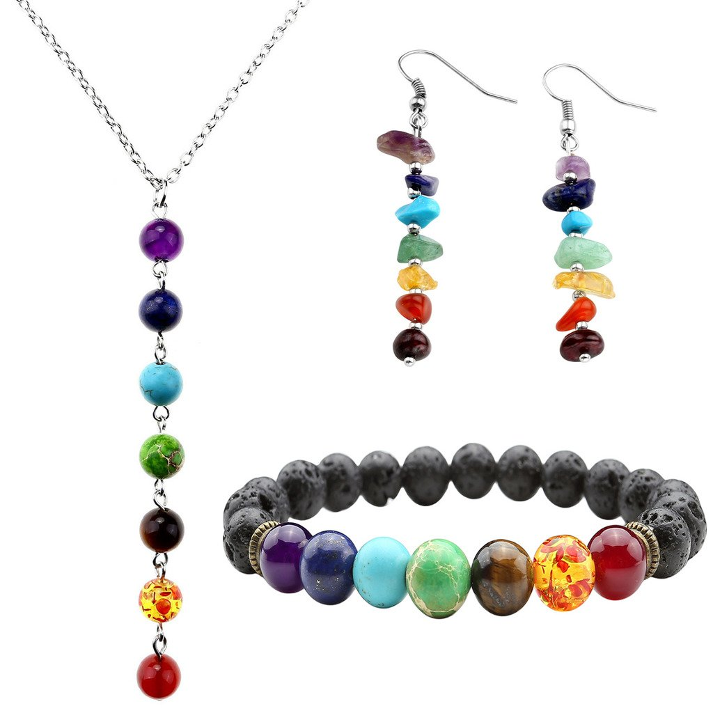 Top Plaza 7 Chakra Lava Rock Stone Beads Yoga Reiki Healing Energy Balancing Necklace Bracelets Earrings Jewelry Set ATPUS62206