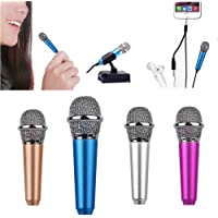 Mini Microphone with Omnidirectional Stereo Mic for Voice Recording,Chatting and Singing on iPhone,Android (Blue)
