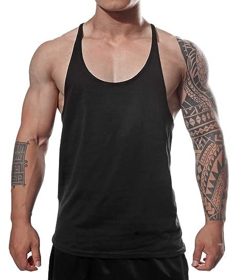978555e5c2040 Manstore Men s Gym Stringer Tank Top Bodybuilding Athletic Workout Muscle  Fitness Vest Black M