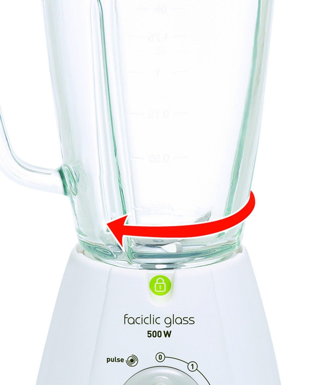 Moulinex Faciclic - Batidora de vaso, 400 W, 2 velocidades, jarra plastico 1,25 l, color blanco: Amazon.es: Hogar