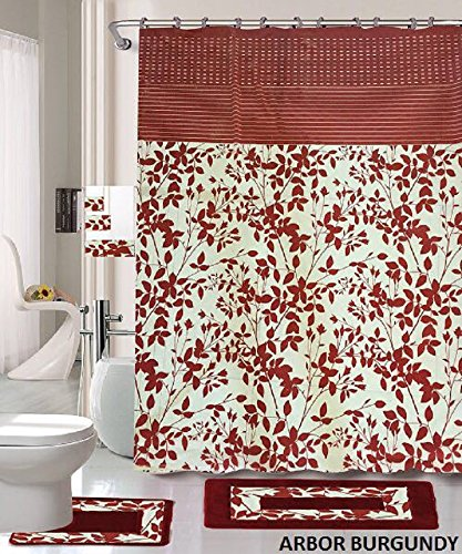 18 Piece Bath Rug Set Burgundy Holiday Red Leave Print Bathroom Rugs Shower Curtain Rings