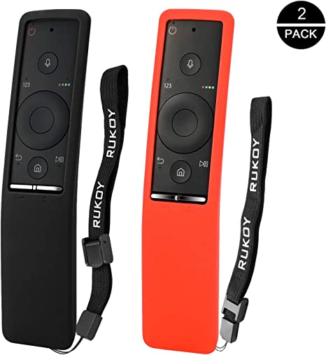 Rukoy Fundas Protectoras Compatible para Samsung Smart TV Control Remoto [Paquete de 2: Negro + Rojo], Fundas Protectoras Antideslizantes para niños Antideslizantes con Correa para la Mano: Amazon.es: Electrónica
