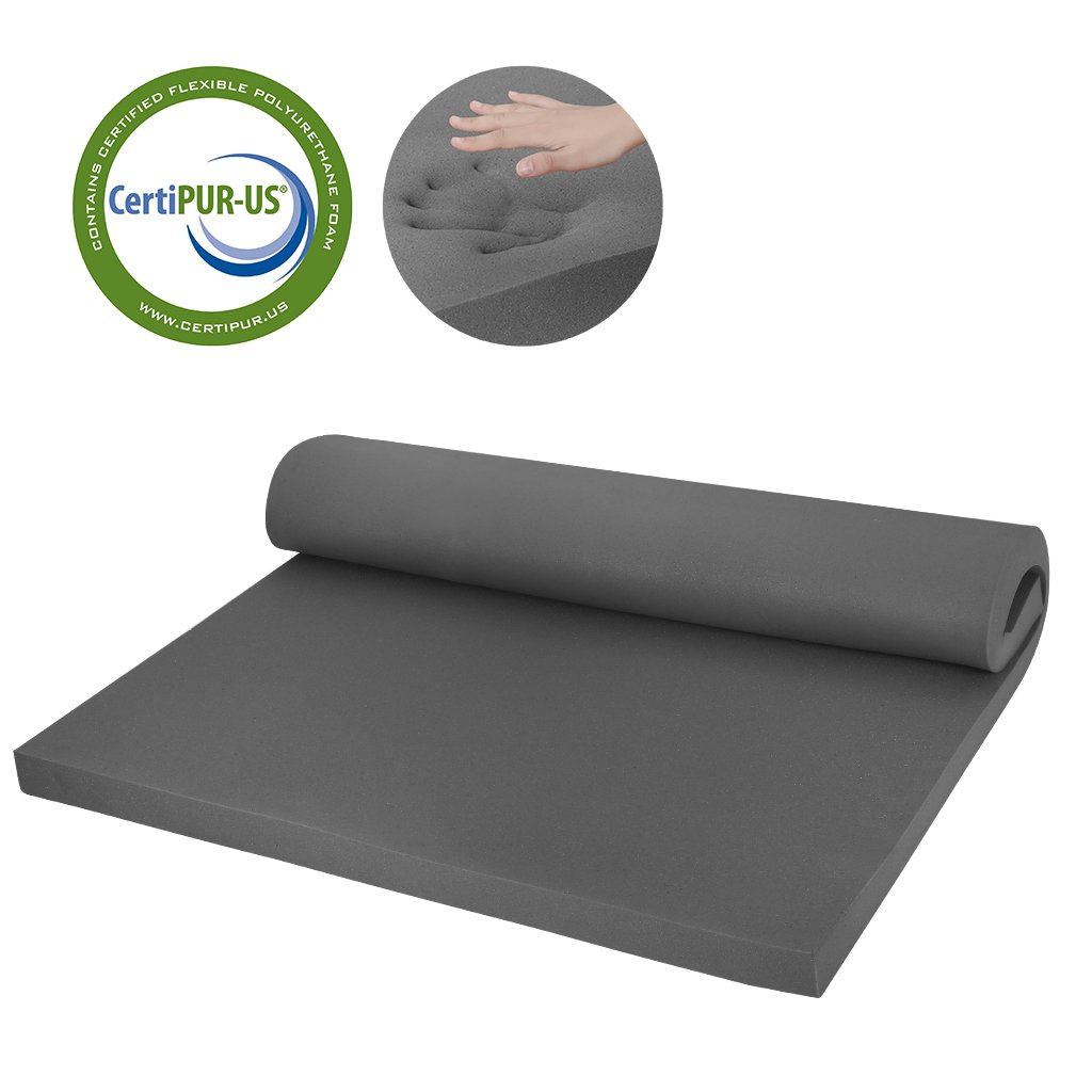 LANGRIA Memory Foam Mattress Topper, Bamboo Charcoal Infused, CertiPUR Certified Without Cover Protector(2'' Full)