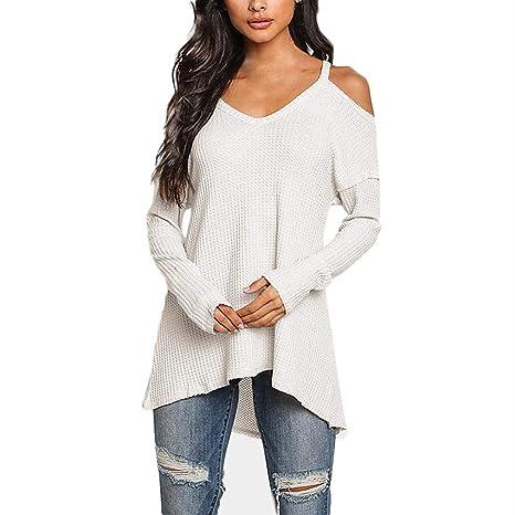 Franterd - Blusa para Mujer (Cuello en V, Cuello Redondo, Cuello en Pico