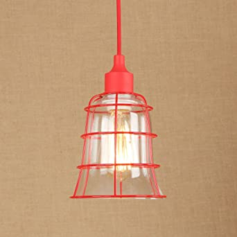 E27 Vintage Caged Red Pendant Lights Industrial Retro Glass Lampshade Ceiling  Lights Bedroom Living Room Bathroom