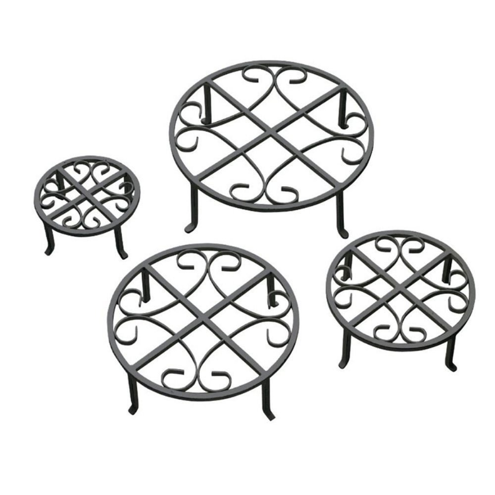Red Carpet Studios Set of Four Round Black Iron Plant Stands, Scroll Pattern by Red Carpet