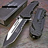 Mtech Ballistic Black Tanto Blade Rescue Pocket Knife New