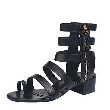 d1914e024a376 Amazon.com: Women Clip Toe Sandal - Open Toe High Ankle Side Zipper ...