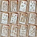 12 Pcs Drawing Painting Stencils Scale Template Sets for Loose Leaf A6 Bullet Journal Diary Notebook 8-Ring Paper Inserts,Perfect for Children Creation,Scrapbooking,DIY Albums,Card and Craft Projects