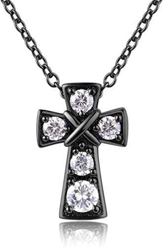 Rhodium Plated White AAA Cubic Zirconia Religious Cross Necklace//Pendant-Gift