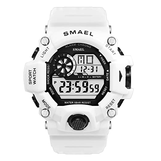 Reloj Deportivo para Hombre Impermeable Reloj Grande para Hombre Reloj Blanco de Silicona: Amazon.es: Relojes