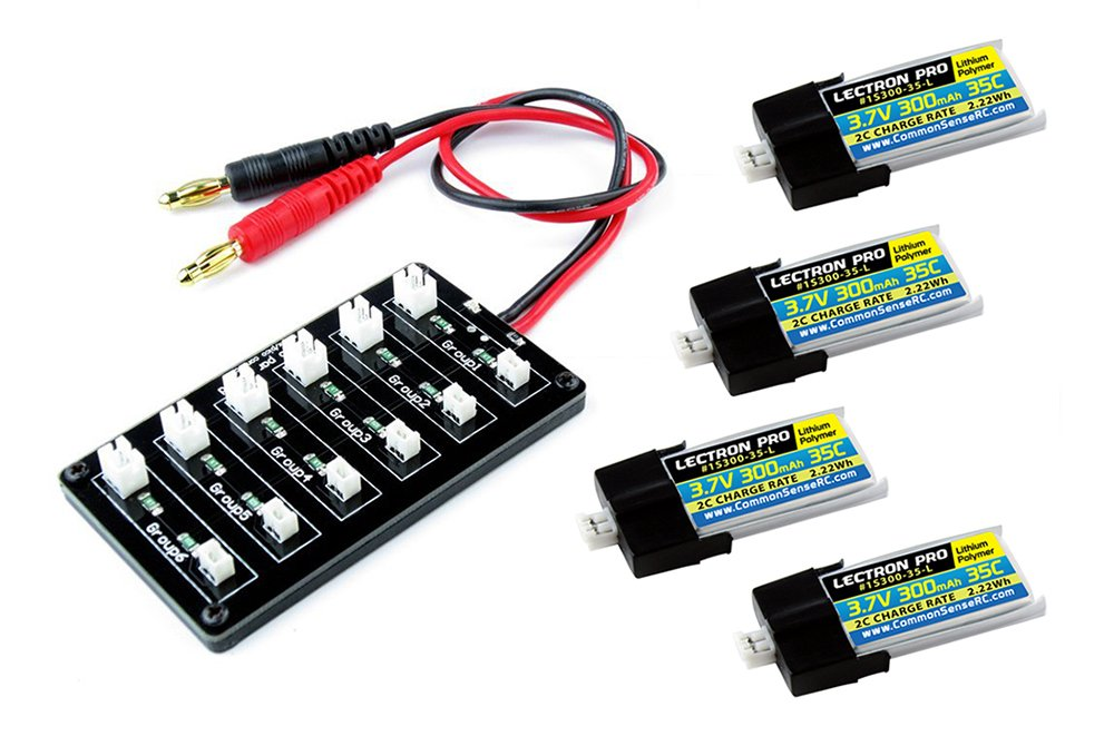 Common Sense RC (4 Pack) Lectron Pro 3.7V 300mAh 35C Lipo Battery with MCPX Connector for Blade Nano QX 3D and mCP X