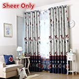 WPKIRA Kids Room Machine Washable Rod Pocket Top Cartoon Children Curtains Airplane Printed Sheer Willow Panel Drape For Boys Bedroom , 1 Panel W39 x L84 inch