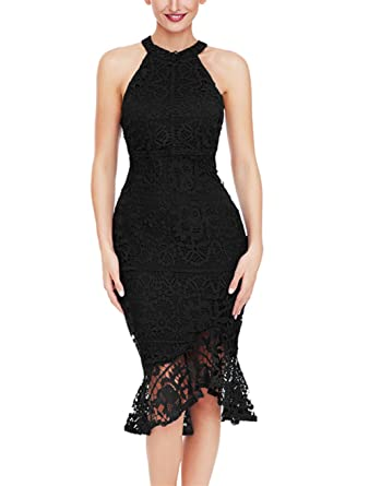59bb682c22b0a Ouregrace Women's Sleeveless Mock Neck Floral Lace Crochet Party Bodycon  Mermaid Midi Dress (S (