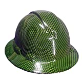 Izzo Graphics Green Carbon Fiber Pyramex Ridgeline Full Brim Hard Hat