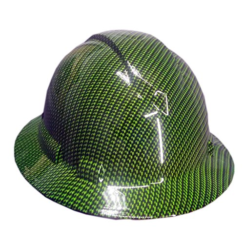 Full Graphics Hard Hat - Izzo Graphics Green Carbon Fiber Pyramex Ridgeline Full Brim Hard Hat
