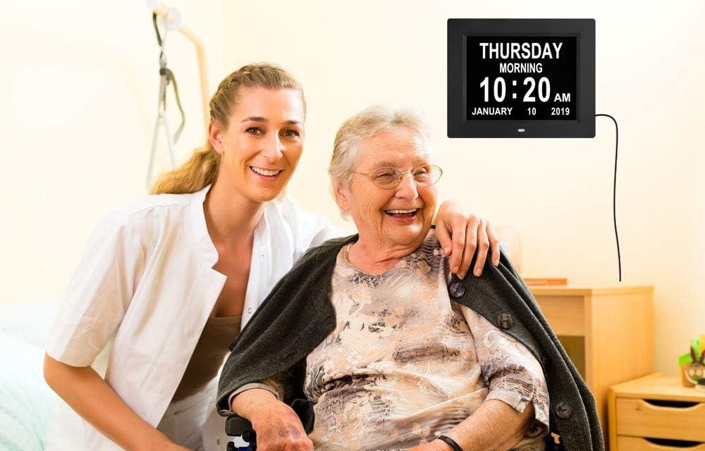Nicht abgek/ürzt Tag und Monat Sehbehinderte Demenz wei/ß Perfekt f/ür Senioren Digitaler Kalender Tagesuhren extra gro/ß