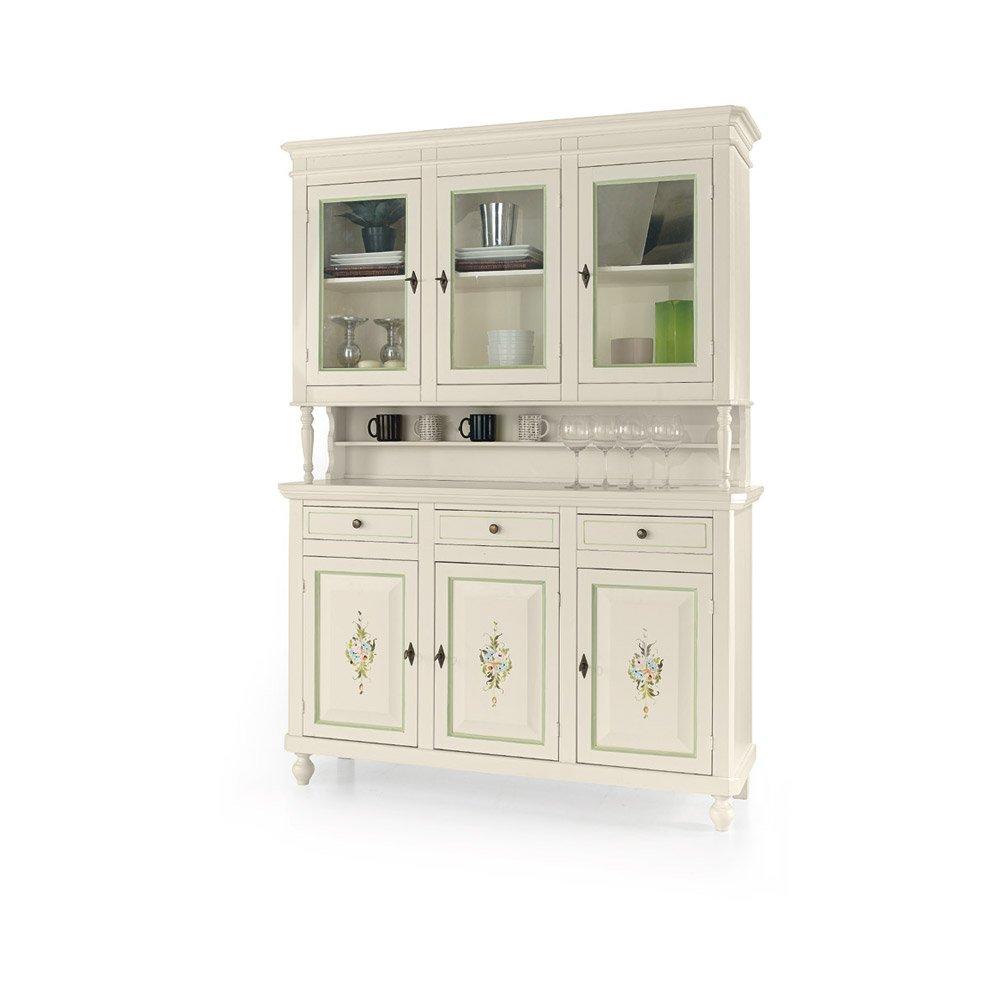 Möbel mit Vitrine, Stil klassisch, aus Massivholz u. MDF, Ausführung wei? Hochglanz dekoriert - Ma?e 158 x 47 x 213