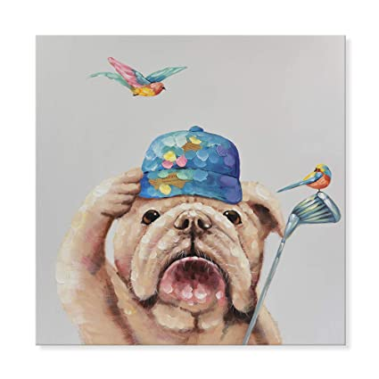 d7557b0d81a1d SEVEN WALL ARTS - Modern Animal Dog Painting Canvas Wall Art Colorful  Bulldog Playing Golf with
