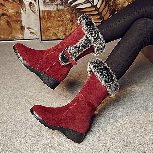 Damenstiefel Stiefel Plus SAMT Wildleder Mode Stiefel Winter Baumwoll Stiefeln Verdickung Den Fallen Stiefel Und In Rutschfeste Keile Winter Damenstiefel Red Schnee rwq1rS