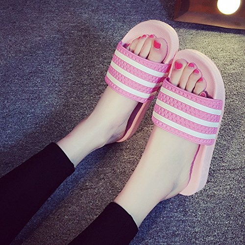 fankou female student Cool thick summer 40 bathing slip indoor slippers children F black stay couple pink slippers bath summer anti 39 qCprq