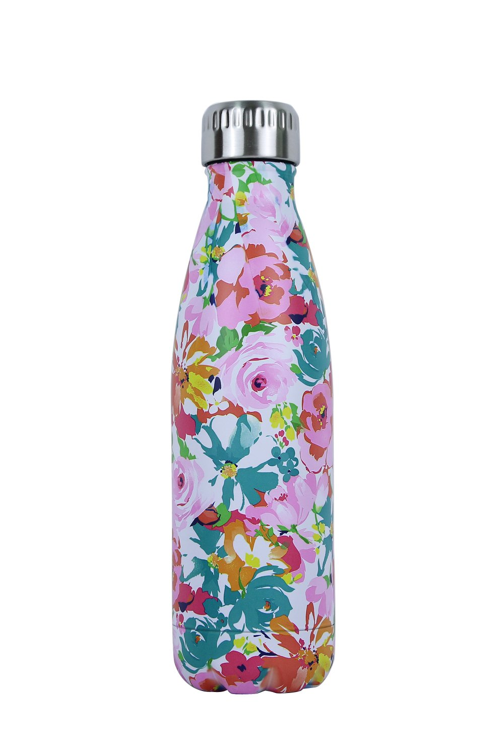 Double Walled Vacuum Flask - Insulated Stainless Steel Water Bottle - Leak Proof Cola Shape Portable Water Bottle - No Sweat,Hot/Cold 24 hours,17 Oz (500 ml) (Flower)