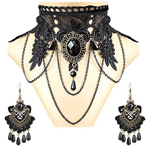 (Aniwon Punk Style Wedding Party Black Lace Choker Beads Tassels Chain Pendant Necklace Earring Set for)