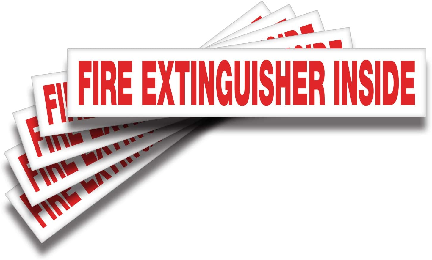 Fire Extinguisher Inside Signs Stickers – 5 Pack 9x1.7 Inch – Premium Self-Adhesive Vinyl, Laminated for Ultimate UV, Weather, Scratch, Water and Fade Resistance, Indoor and Outdoor
