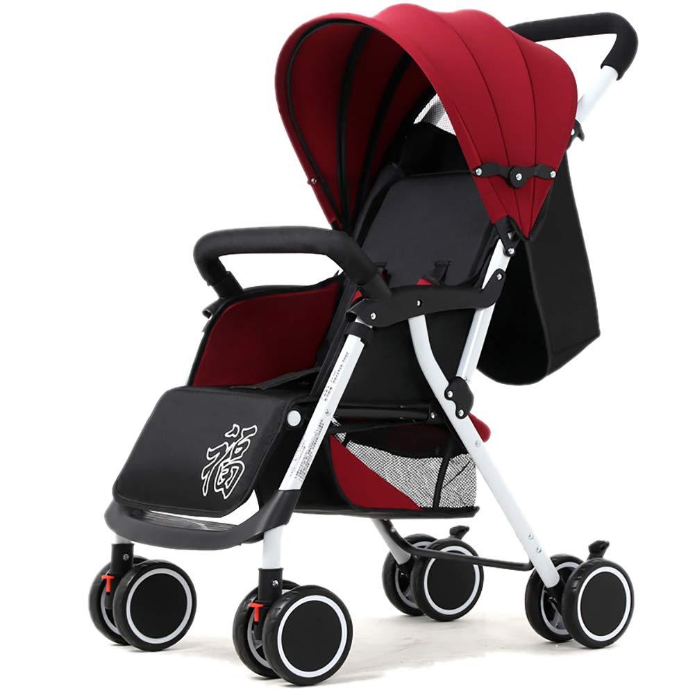 ベビーベビーカー、ベビーキャリッジ軽量折り畳み式4輪ユニバーサルサスペンション新生児トロリー (色 : 赤)  赤 B0171IICF8