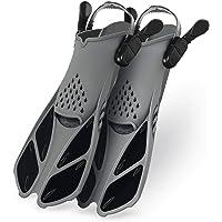 SEATIGER Snorkel Fins Swim Fins Travel Size Short Adjustable for Snorkeling Diving Adult Men Women Open Heel Swimming Flippers