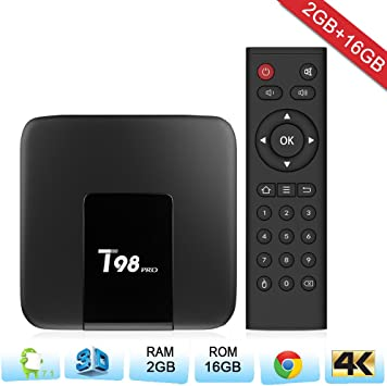 Zenoplige T98PRO Android TV Box Android 7.1 Marshmallow 2G 16G 4K H.265 64BIT DLNA WiFi LAN Smart TV Box: Amazon.es: Electrónica