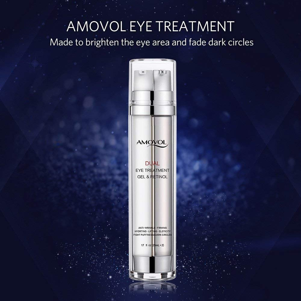 Eye Gel with Retinol for Dark Circles, Puffiness, Wrinkles and Bags, Day & Night Anti-Aging Eye Treatment Cream for Under and Around Eyes, Best Gift for Women and Men, 2 x 0.85oz by AMOVOL (Image #2)