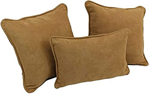 Blazing Needles Double-Corded Solid Microsuede Throw Pillow Set with Inserts Set of 3 , Camel
