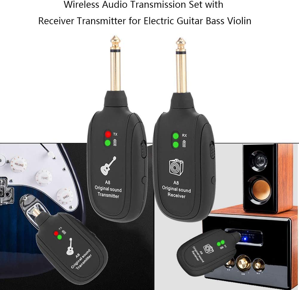Asixx Guitar Transmitter Wireless Audio Transmission Set or Guitar Receiver Transmitter,Wireless Guitar System for Electric Guitar Bass Violin Guitar Wireless System