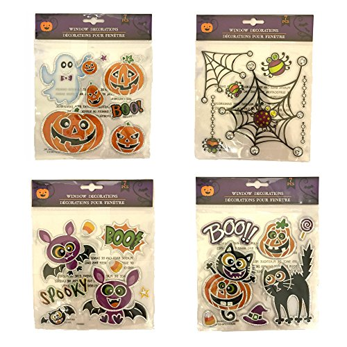 Halloween Window Decorations, Set of 4 Sheets of Window Decorations with Ghosts, Black Cats, Spiderweb, and Jack O'Lanterns, 29 Decorations