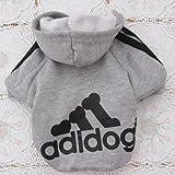 Angel Mall Adidog Hoodie Pet Clothes Dog Sweater Puppy Sweatshirt Warm Small Coat Christmas Gift 1-pc Set (Grey) (S)
